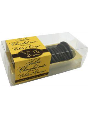 Tigle de ciocolata neagra cu bucati portocala 150gr