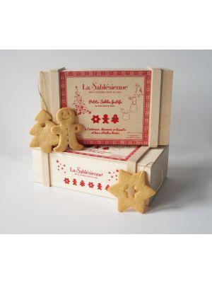Biscuiti frantuzesti in cutie de lemn Sablé Festive Bois,  La Sablesienne